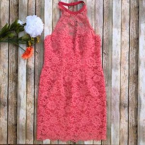 Nicole Miller pink coral lace high neck mini dress
